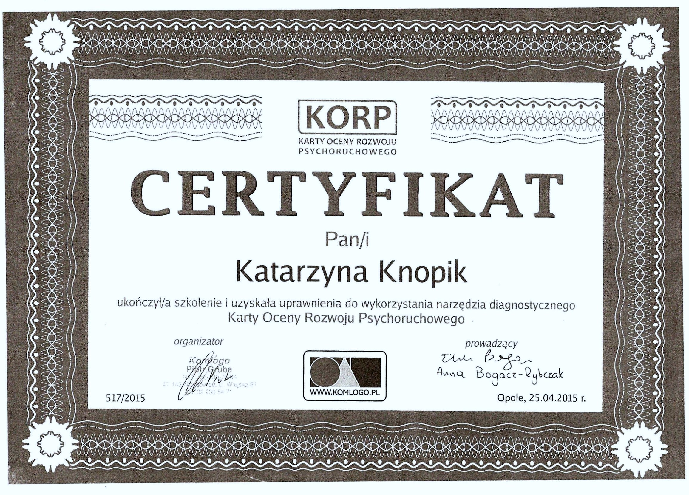 Certyfikat KORP